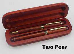 Wholesale Two Color Pens - Factory direct brown color Ballpoint Pen High-grade two rosewood Pens in box school and Business office supplies stationery free shipping m4