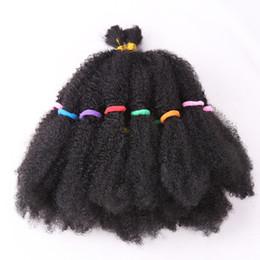 "Pelo trenzado rizado afro online-Moda Mega Afro Kinky twist Pelo sintético 22 ""Crochet Braid Hair For Black Women Hair Extensions"