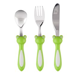 Wholesale Kids Knife Fork Sets - Kids Lovely Peter Cutlery Sets 304 Stainless Steel Mirror Polish Knife Spoon And Fork Set Children Portable Cheap Kitchen Tools
