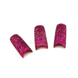 Rosa glitzer nagelspitzen online-NEUE ANKUNFT 70PCS / LOT Glitter Nagelspitze Rosa Farbe Glitter Entworfene falsche Spitze der Acrylnägel + freies Schiff