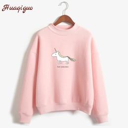 Wholesale fleece turtleneck women - Women Hoodies Female Long Sleeve Fleece Turtleneck Sweatshirt 2017 Autumn Winter Kawaii Unicorn Print Harajuku Casual Pullover