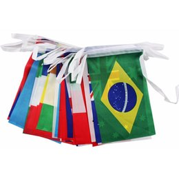 Wholesale Festival Top - 2018 Russia World Cup Hanging Flags 14*21cm Top 32 Countries Polyster National flags String for Festival Party Bar