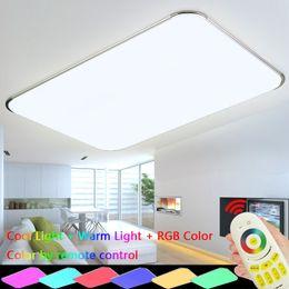 Luz del techo del dormitorio regulable online-Lámpara moderna del techo de la luz de techo del LED con los accesorios de la lámpara del RGB de Dimmable del control remoto de 2.4G RF que se encienden para la sala de estar del dormitorio