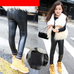 Nuove gambali in pelle online-New fashion nero inverno caldo leggings neonate leggings PU pantaloni vestiti per bambini abbigliamento per bambini abbigliamento bambino addensare pantaloni di pelle