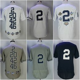 Wholesale Free New York - 2017 Stitched Men's New York #2 Derek Jeter Baseball jerseys Throwback Flex Base Cool Base White Navy Grey Player jersey Fast free shipping