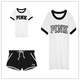 Wholesale Yellow Yoga Pants - 2018 Summer Designer Tracksuit PINK Short Sleeve t shirt Shorts Pants Set Fashion Cotton Pink Printing Clothes Women s clothing plus size