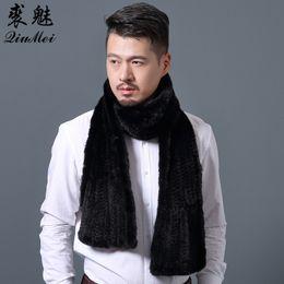 2019 черный вязаный шарф Brand Design Men Scarves Wraps Зимний трикотаж Подлинный шарф для мужчин Теплый зимний длинный шарф Обертывание Черная норка Шарф дешево черный вязаный шарф