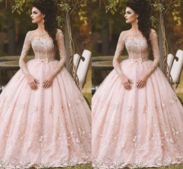 Wholesale Ball Prom Dress - 2018 Pink Quinceanera Dresses Ball Gown Bateau Long Sleeve Floor Length Prom Dresses With Lace Applique Bow Formal Party Gowns