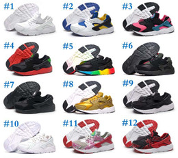 Wholesale toe shoes for girls - 2018 Black Red Air Huaraches Kids Running Shoes For Boys Girls White Blue Sneakers Huarache Children's Trainers Sport Shoes Size 11C-3Y