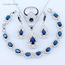 Wholesale White Jade Earrings 925 Silver - whole saleL&B Wedding Bridal Jewelry Sets silver 925 Blue Crystal White CZ Drop Earrings Bracelets Pendant Necklace Rings