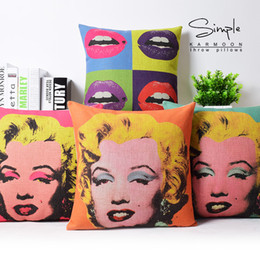 Wholesale Cover Pillow Marilyn - Lips Blonde Girl Marilyn Monroe US Pop Art Emoji Massager Decorative Vintage Pillows Pillow Cover Home Decor Lover Gift Casee