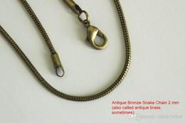 2 мм античная бронза гладкая змея цепи ожерелье ювелирные изделия античная латунь цепь 16-24