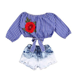 Wholesale Girls Denim Blouses - Kid Baby Girls Clothes Sets Crop Tops Shirts Blouse Flower Striped Denim Short Jeans Clothing Set Girl Outfits