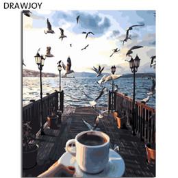 Pintura acrílica paisajes marinos online-DRAWJOY Enmarcado Paisaje Marino Pintura DIY Por Números Sobre Lienzo Pintura Acrílica Arte de La Pared Para la Sala de estar Para La Decoración Casera 40x50