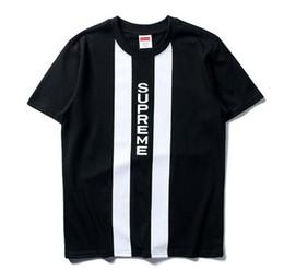 Wholesale Vertical Stripe Shorts - Mens C T-Shirt Vertical stripes 2color short Sleeve O-neck cat T-Shirt Letter Sportwear wholesale