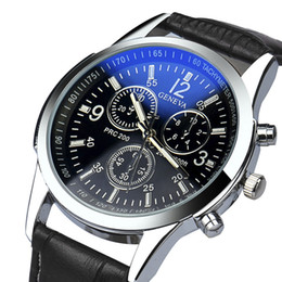 relógios por atacado baratos Desconto Moda Mens Relógios Top Marca de Luxo de Couro Do Falso Analog Relógios de Quartzo-Relógio de Negócios de Desconto Para Homens Relogio masculino
