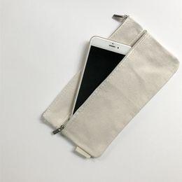 piccolo sacchetto della chiusura lampo della tela di canapa Sconti 21.5 * 12.5 cm Blank Zipper Canvas Portamonete Cosmetic Storage Bag Titolari di carta Piccolo Cambia telefono Key Pouch ZA6071