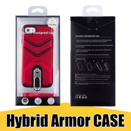 Wholesale Hang Ring - Stylish Kickstand Phone Case with Hanging Ring Hybrid Armor Back Cover for iPhone X 8 7 Plus Samsung Note8 S9 with Retail Package
