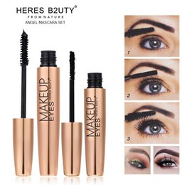 Wholesale Transplanting Mascara - NEW 2pcs set Brand HERES B2UTY Mascara 3D unique FIBER LASHES Love black Waterproof Transplanting Gel&Natural Make Up Cosmetics