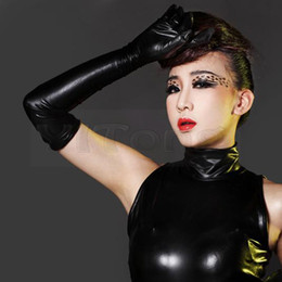 Wholesale women sexy glove - Hot Sexy Long Synthetic Latex Gloves Women Glove Punk Gloves Sexy Hip-pop Jazz Outfit Mittens Culb Wear Eroticas Lingerie