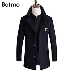 5c30d6a255f BATMO 2018 new arrival winter high quality wool thicked trench coat  men
