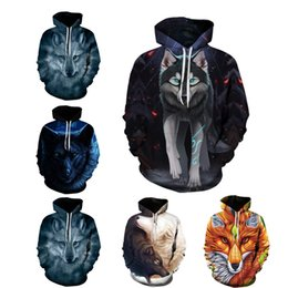 wolf art prints Promo Codes - Hoodies Wolf Art 3d Men Printing Galaxy Hoodie Wolf Funny Pullover Sweatshirt Tracksuits Jacket Drop Shipping Couples Tops S-5XL