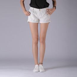 женские шорты джинсовые топы Скидка DenimColab Top Clothes Ladies Jeans Regular Mid Waist Cuffs White Stretch Cotton Denim Jeans Shorts Zipper for Woman