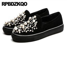 China de diamantes negros online-Plataforma china perla rhinestone pisos gruesa suela diamante punta redonda cristal señoras hermosos zapatos de gamuza negro cómodo
