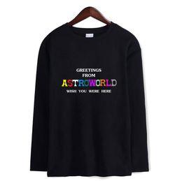 Camiseta de manga comprida branca on-line-2018 Mens Verão Designer camisola Travis Scott AstroWorld Mangas longas Camisetas Letras Imprimir Preto Branco Cinza