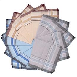 Wholesale plaid suit men vintage - 12pcs  Lot Men Plaid Square Handkerchiefs ,36x36cm Cotton Soft Vintage Men 'S Business Suit Pockets Handkerchief Male Grid Hanky
