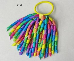 Wholesale Korker Hair Accessories - 18pcs Girl O A-korker Ponytail holder rainbow hair accessories korker Curly ribbons streamers hair bows elastic corker PD002