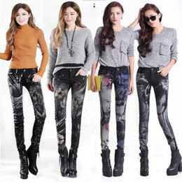 Wholesale pants for women paint - Slim Jeans For Women Skinny Rhinestones Jeans Woman Blue Denim Pencil Pants Stretch Women Print Jeans Black Pants Calca Feminina