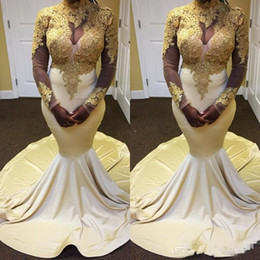 18a1ecf0fb5 South African White Mermaid Abendkleider Abendkleid 2018 Gold Spitze  Applizierte Long Sleeves Schwarz Mädchen Plus Size Country Party Abendkleid  langes ...
