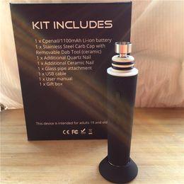 Wholesale Metal Pots - Electric CPENAIL 1100mah portable wax pen CPhenail H nail dab rig with Pot material Ceramic Quartz nail GR2 pure Ti E nail kits