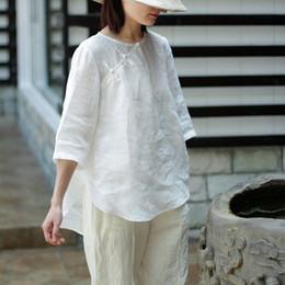 camisas de color medias Rebajas Estilo chino Vintage Plate Hebilla Tops Nuevo 2018 Verano Half Sleve O-Nekc Color sólido Loose Irregular Mujeres Camisas