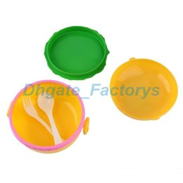 Wholesale Wholesale Hamburger Boxes - New Arrival Plastic Children Hamburger Bento 2-layered Lunch Box Food Container Storage with Spoon Fork JF-794