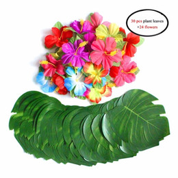 Decoraciones temáticas fiesta de cumpleaños online-1 Set Summer Turtle Leaves Pétalos de simulación Hawaiian Beach Themed BBQ Party Birthday Decoraciones 30 unids 8 Pulgadas Hojas +24 Flores