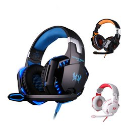 Wholesale Earphone Over - KOTION EACH G2000 Over-ear Game Gaming Headphone Headset Earphone Headband with Mic Stereo Bass LED Light for PC Game