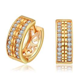 Wholesale 24k Gold Earrings For Women - vintage stud earrings 24K gold color AAA Zirconia jewelry for women bijoux bagues Accessories MYE026