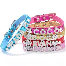 Wholesale Rhinestone Dog Collar Letters - DIY Pet Name Lovely Puppy Dog Cat Chain Bling Rhinestone PU Leather Pet Collar ( Unique DIY Name, Free Letters and Charms )