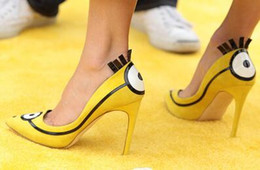 Wholesale Lady Shoes Images - 2018 Discount Cutest Sweet Leisure Casure Girls Pointed toe Two Cartoon Images Eyes On Front And Back Upper Lady Pumps High Heel Shoe