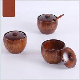 Discount salt boxes - Wood Seasoning Salt Cans Pot Dish Suits Kitchen Seasoning Box Salt and Pepper Shakers Wooden Sause Pot