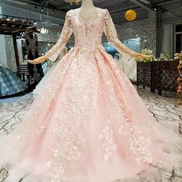 2019 rose robes de soirée bon marché à manches longues en tulle o cou dentelle Up fleurs colorées étage longueur princesse fille robes simples prix ? partir de fabricateur