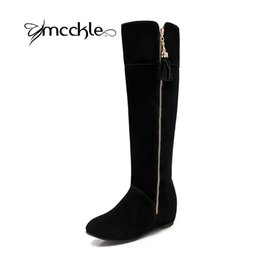 Wholesale Knee High Boots Zipper - Wholesale- 2016 New Arrival Women's Knee High Snow Boots Winter Flock Warm Plush Height Increasing Shoes Ladies Zipper Round Toe Long Botas