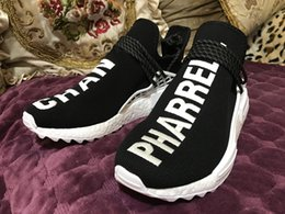 Wholesale Womens Boots 12 - (with box) 2018 Hu NMD Human Race Trail boost x Pharrell Mens Running shoes nmds ultra New arrival womens Sports sneakers US 5-12
