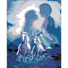 Wholesale Couple Painting Canvas - Lovers Picture Horse Couples Painting By Numbers Paint on Canvas Acrylic Coloring Painitng By Numbers for Home Wall Decor