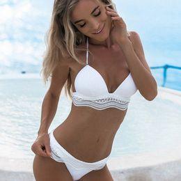 b03c974bf7 2018 Sexy Lace Swimwear Women swimsuits Push Up Black White Beach Bathing  Suit Sling Bikini Set Micro Biquini For Summer