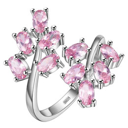 Wholesale big adjustable rings - whole saleHainon Pink Flower Adjustable Rings for Women Silver Color Big Ring with Red Zircon Stones Jewelry Ring Gifts Dropshipping