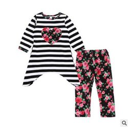 Wholesale Best Clothing Style - Girl Clothing Set Lovely Toddler Kid Baby Girl Floral Clothes Boutiqu Floral Ruffle Dress Pants Outfits Best Gifts DHL Free Shipping
