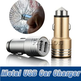 cargador martillado Rebajas Universal Metal Dual 2 Port USB Car Charger 5V 2.1A Mini Car Charger Adapter Emergency Hammer para iPhone Samsung S9
